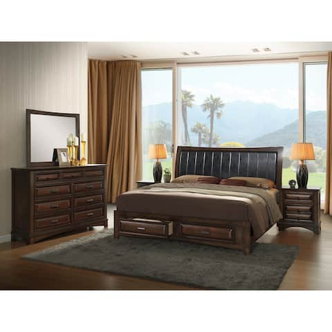 Broval Light Espresso Wood King-size Storage Bedroom Set