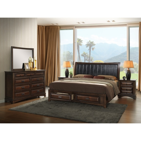 Shop Broval 179 Light Espresso Finish Wood Queen Size 5 Piece Bedroom Set Free Shipping Today