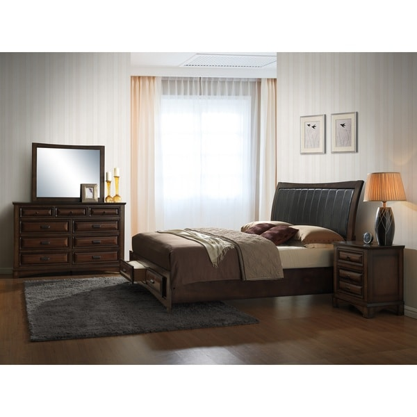Shop Broval 179 Light Espresso Finish Wood Queen Size 5 Piece Bedroom Set On Sale Free