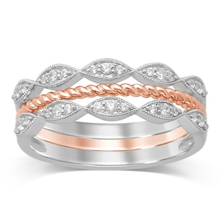 Unending Love 2-tone 10k White/Rose Gold 1/5-carat TW iJ i1-i2 Diamond Stackable Milgrain Fashion Ring
