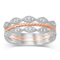 Unending Love 10k Two-Tone Gold 1/5ct TDW Diamond Stackable Milgrain Fashion Ring