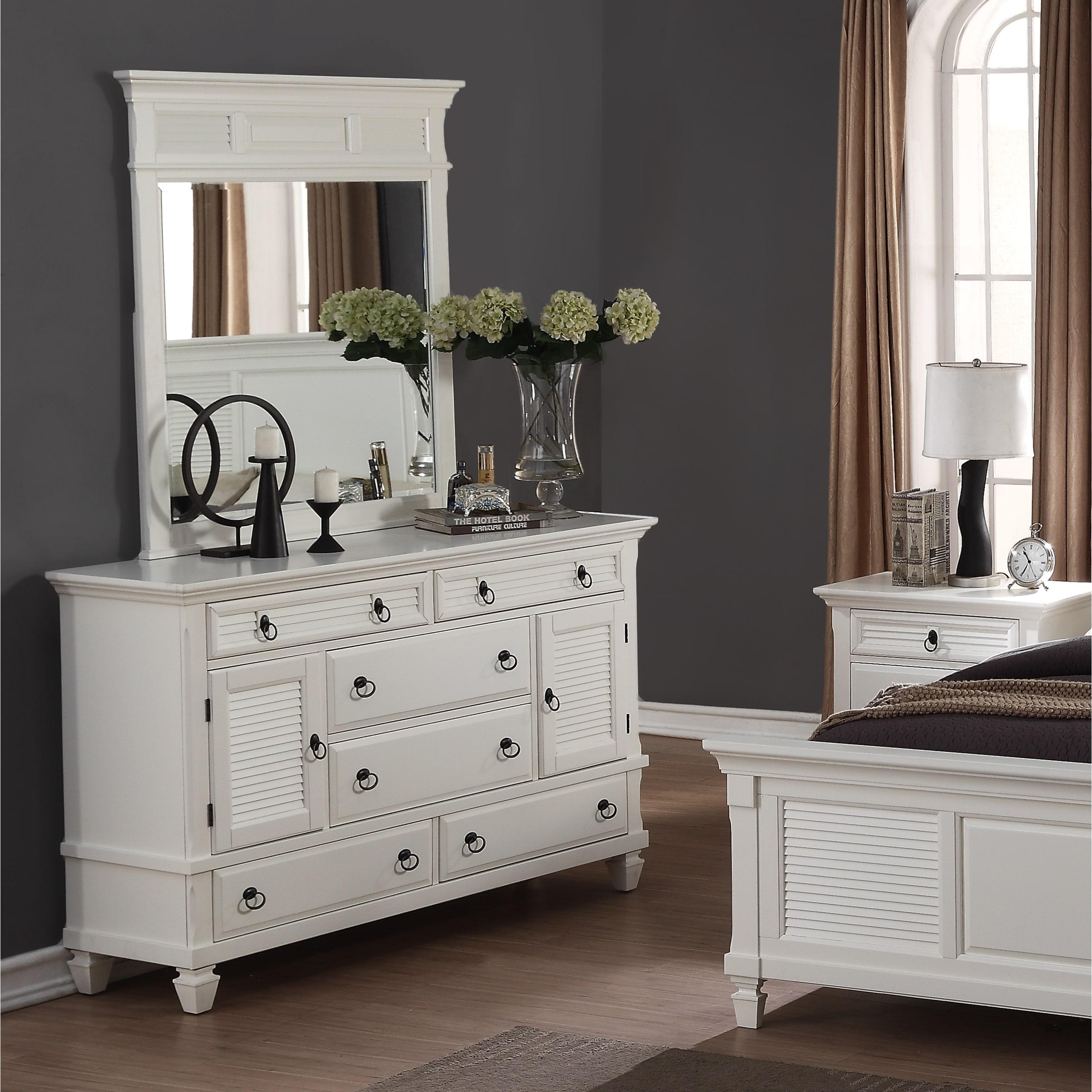 Regitina White 6-Drawer Dresser with Mirror