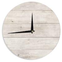 KESS InHouse Susan Sanders 'White Wash Wood' Beige White Wall Clock