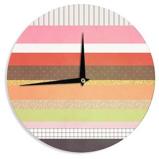 KESS InHouse Strawberringo 'Mix' Multicolor Hodge Podge Wall Clock