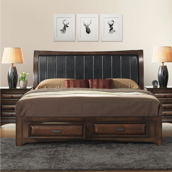 Broval light espresso wood queen size storage platform bed free shipping today - Light wood platform bed ...
