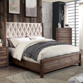 furniture of america andrea button tufted wingback rustic natural tone bed