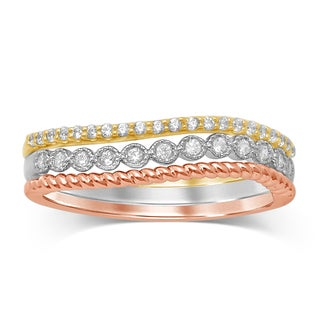 Unending Love 10K Gold and Diamond Stackable Milgrain Tri-color Ring
