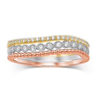 Unending Love 10K Gold and Diamond Stackable Milgrain Tri-color Ring|https://ak1.ostkcdn.com/images/products/12593696/P19390434.jpg?impolicy=medium