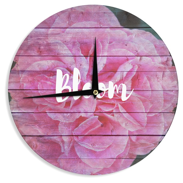 KESS InHouse Suzanne Carter 'Bloom Typography' Pink Floral Wall Clock