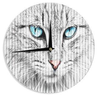 KESS InHouse Suzanne Carter 'Cat' Gray Digital Wall Clock