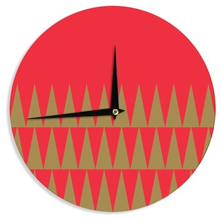 KESS InHouse Suzanne Carter 'Christmas 1' Red Gold Wall Clock
