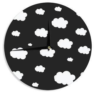 KESS InHouse Suzanne Carter 'Clouds' Black White Wall Clock