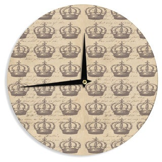 KESS InHouse Suzanne Carter 'Crowns' Brown Tan Wall Clock