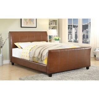 Furniture of America Kays Modern Brown Faux Leather Sleigh Bed