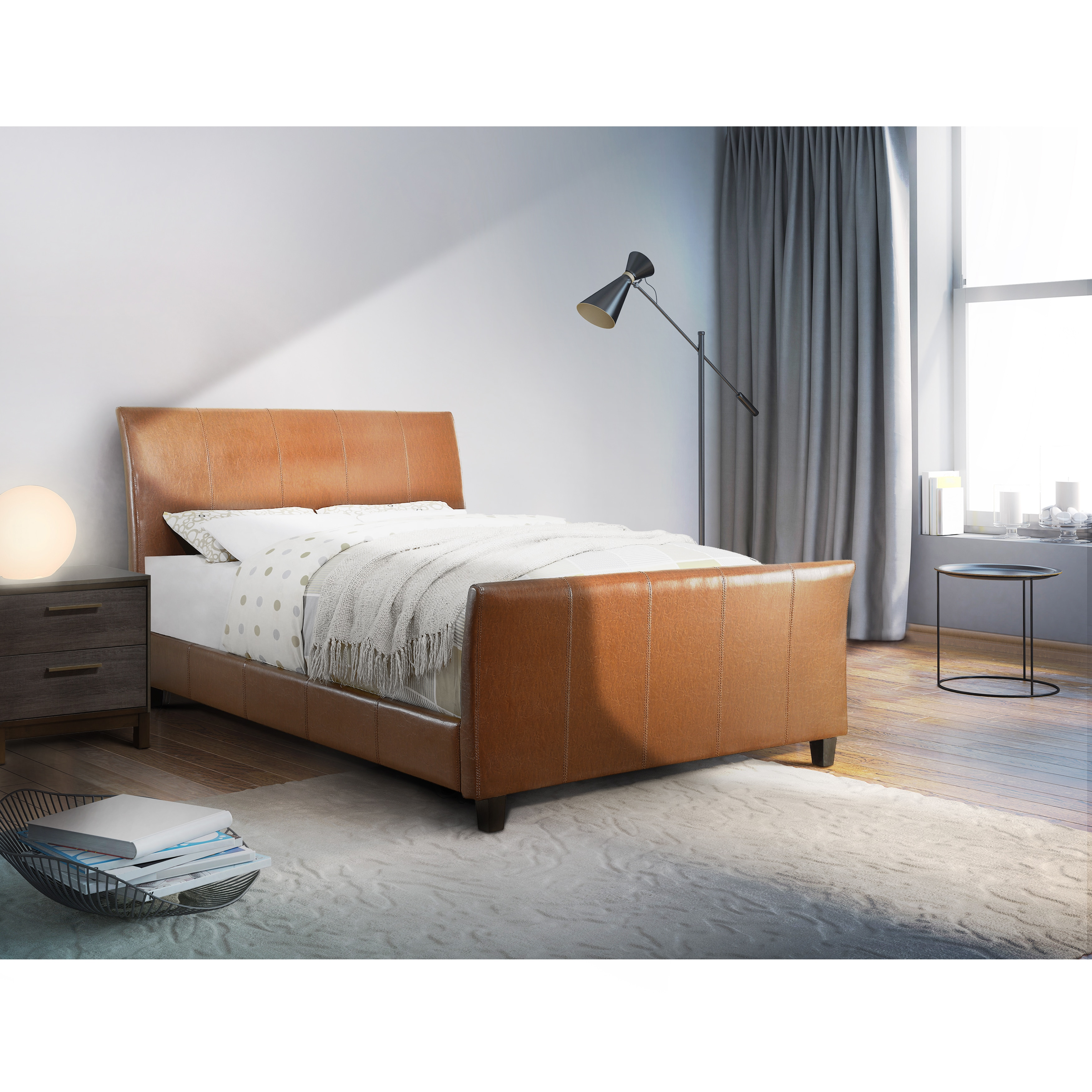 Camel-leather-bed