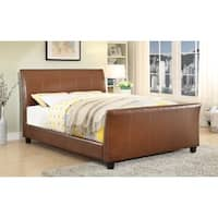 Furniture of America Benedicte Modern English Style Dark Caramel Leatherette Sleigh Bed