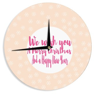 KESS InHouse Suzanne Carter 'Merry Chistmas & Happy New Year' Peach Pink Wall Clock
