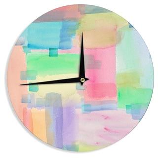 KESS InHouse Catherine Holcombe 'Watercolor Brushstrokes' Modern Pink Wall Clock
