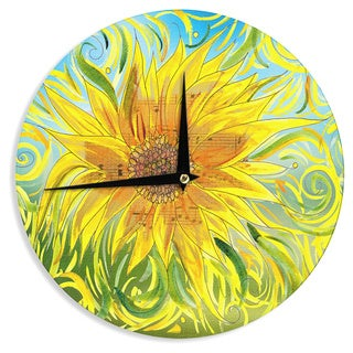 KESS InHouse Catherine Holcombe 'Syaured' Yellow Green Wall Clock