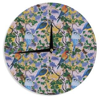 KESS InHouse DLKG Design 'Birds' Blue Yellow Wall Clock