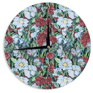KESS InHouse DLKG Design 'Giardino' Garden Flowers Wall Clock
