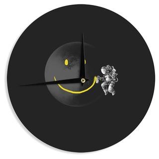 KESS InHouse Digital Carbine 'Make A Smile' Black Yellow Wall Clock
