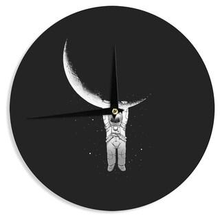 KESS InHouse Digital Carbine 'Help!' Black White Wall Clock