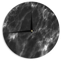 KESS InHouse Chelsea Victoria 'Black Marble ' Modern White Wall Clock - 12""