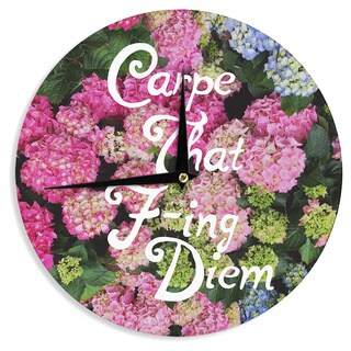 KESS InHouse Chelsea Victoria 'Carpe That F-Ing Diem' Nature Pink Wall Clock