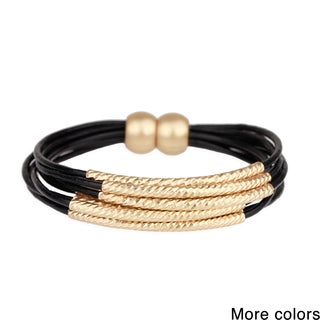 Saachi Leather Bracelet with Curbed Twisted Tubes (China)