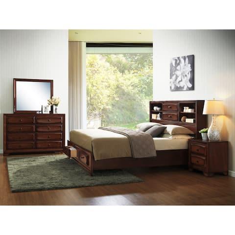 Asger Antique Oak Wood King-size Storage Bedroom Set