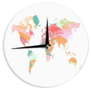 KESS InHouse Chelsea Victoria 'Wild World' Travel Painting Wall Clock