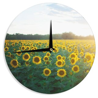 KESS InHouse Chelsea Victoria 'Sunflower Fields' Floral Photography Wall Clock