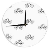 KESS InHouse Suzanne Carter 'Vintage Wheels' Black White Wall Clock