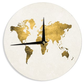 KESS InHouse Chelsea Victoria 'Let Love Light The Way' Gold Love Wall Clock