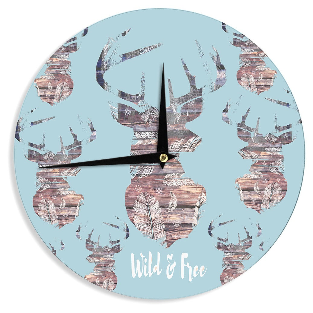 KESS InHouse Suzanne Carter Wild And Free Blue Brown Wall Clock eBay