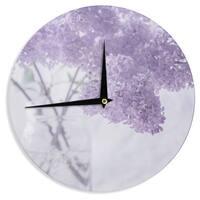 KESS InHouse Suzanne Harford 'Lilacs' Purple Floral Wall Clock