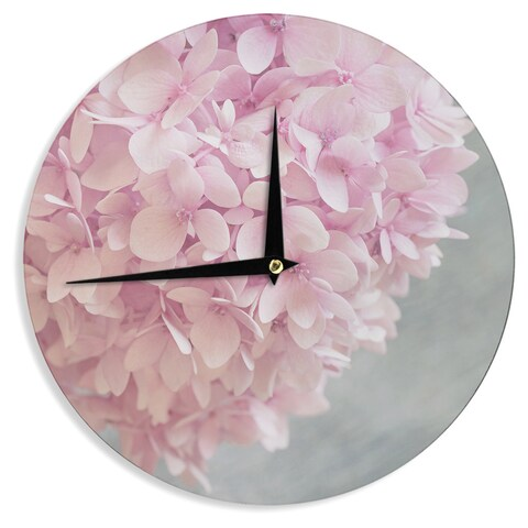 KESS InHouse Suzanne Harford 'Pastel Pink Hydrangea Flowers' Pink Floral Wall Clock