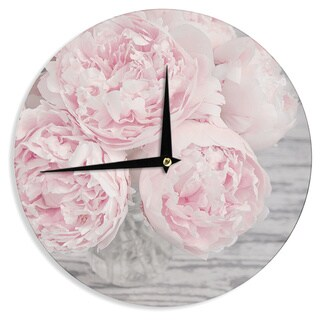 KESS InHouse Suzanne Harford 'Pink Peony Flowers' Floral Photography Wall Clock