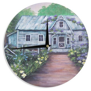 KESS InHouse Cyndi Steen 'Ivy Cottage Again' Gray Purple Wall Clock