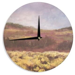 KESS InHouse Cyndi Steen 'Field Of Yellow' Brown Green Wall Clock