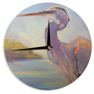 KESS InHouse Carol Schiff 'Tropical Sentry' Lavender Animals Wall Clock