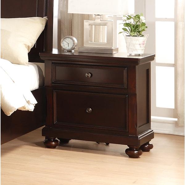 Brishland Rustic Cherry 2-drawer Bedroom Nightstand