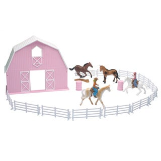 Pink Country Barn and 4-horse Playset