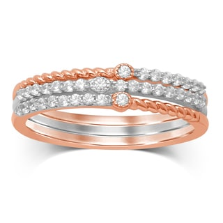 Unending Love 2-tone 10k White/Rose Gold 1/4-carat TW IJ I1-I2 Diamond Stackable Fashion Ring