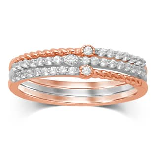 Unending Love 2-tone 10k White/Rose Gold 1/4-carat TW IJ I1-I2 Diamond Stackable Fashion Ring|https://ak1.ostkcdn.com/images/products/12594145/P19391086.jpg?impolicy=medium