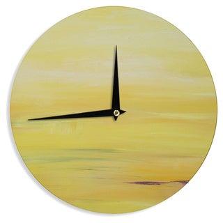 KESS InHouse Cathy Rodgers 'Yellow Sunrise' Yellow Purple Wall Clock