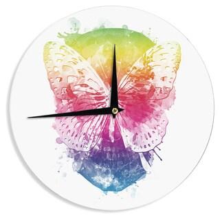 KESS InHouse Frederic Levy-Hadida 'Butterfly Skull' Rainbow Wall Clock