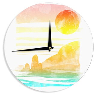 KESS InHouse Frederic Levy-Hadida 'Landscape Painted With Tea' Orange Coastal Wall Clock