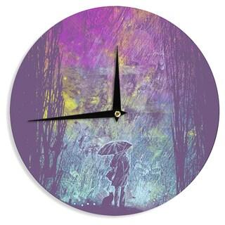 KESS InHouse Frederic Levy-Hadida 'Purple Rain' Wall Clock